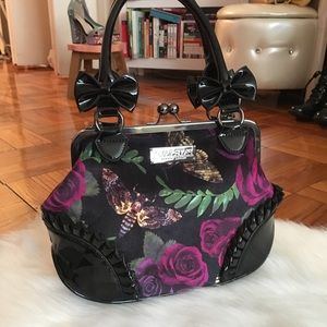 Killstar Velvety Rose and Moth Print Bag w Clasp